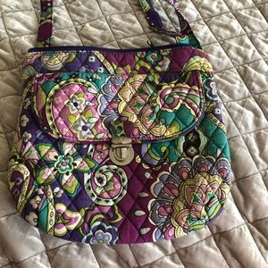 Vera Bradley purple print cross body purse